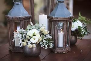 Reception Décor Photos - Wood Lanterns & Small White