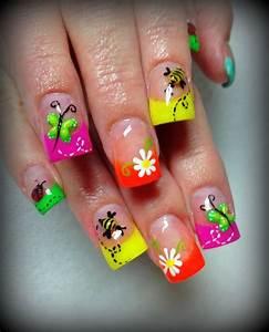 Day 119: Neon Spring Nail Art | Toe and Nail Designs ...