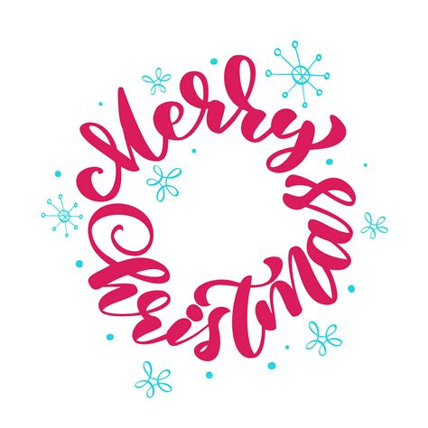 text merry christmas written calligraphy lettering round handmade vector illustration fun
