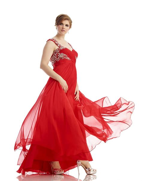 Plus Size Long Red Evening Dress For Fat Women A Line See ...