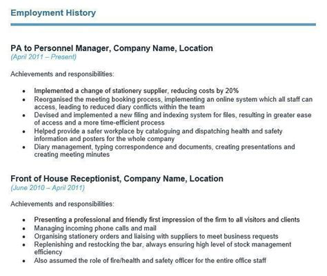 Employment Cv Template by How To Write Your Cv S Employment History Section With