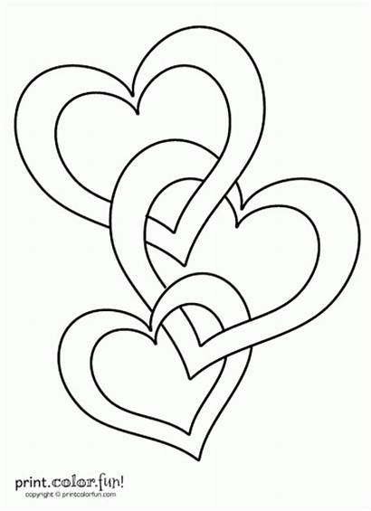 Hearts Connected Coloring Heart Printable Creative Let