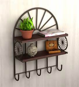 Decorative Key Holder For Wall by Two Tier Metallic Wall Shelf With Key Holder By Home