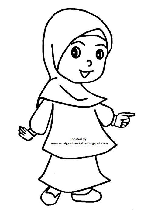 15+ gambar sketsa untuk belajar anak dalam mewarnai gambar. Mewarnai Gambar: Mewarnai Gambar Gadis Berkerudung