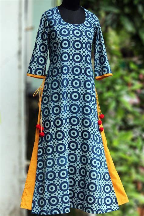 layered long kurta indigo  ochre yellow dress