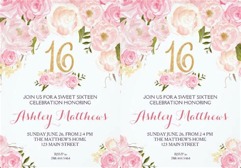 FREE 15+ Sweet 16 Invitation Designs & Examples in PSD