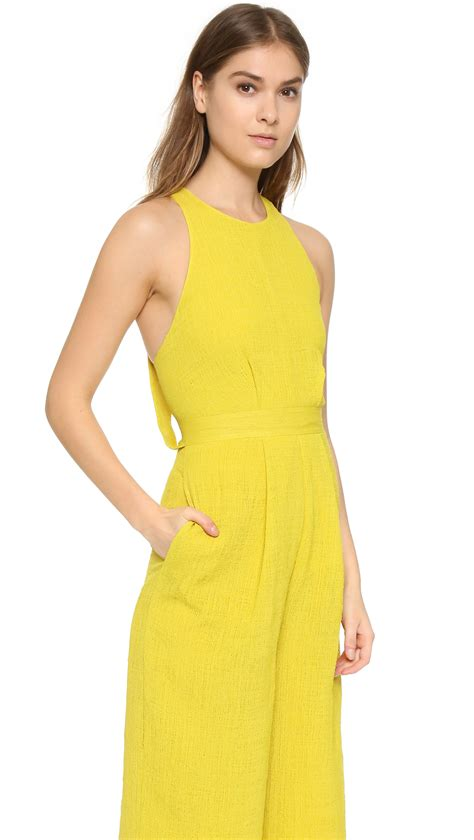 womens yellow jumpsuit whistles cecilia jumpsuit in yellow lyst