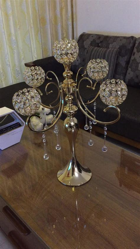 Factory Wholesale Tall Gold Crystal Candelabra Wedding