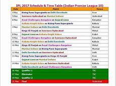 IPL 2017 Calendar And Images