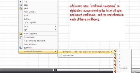 excel vba codes macros add a new menu on mouse right