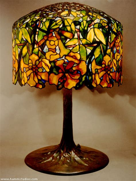 Tiffany Reproduction Lamp Bases by Tiffany Studios Trumpet Vine Leaded Glass Lampshade Hamm