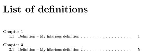 table of contents definition table of contents toc like list of definitions using