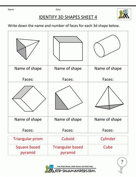 Geometry Shapes Worksheets  World Of Example