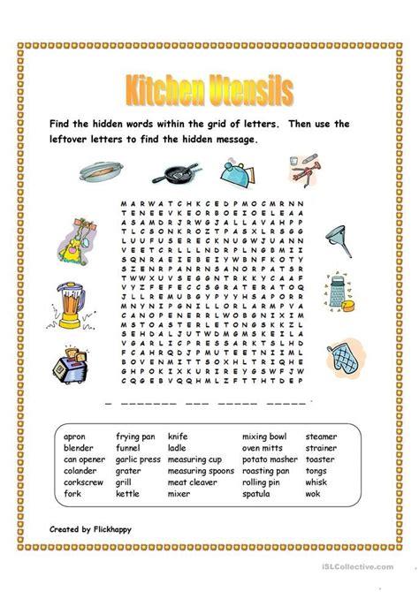 kitchen utensils wordsearch kitchen utensils worksheet