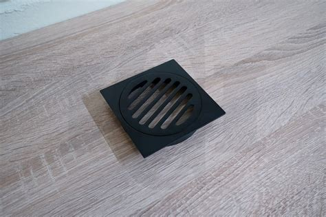 square matte black floor waste premium electroplated