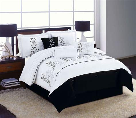 7pc king size bedding comforter set black white winter