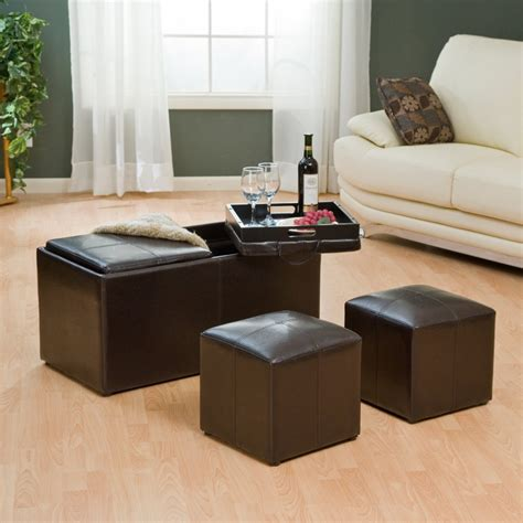 double sofas in living room leather ottoman with double tray table with storage and 2