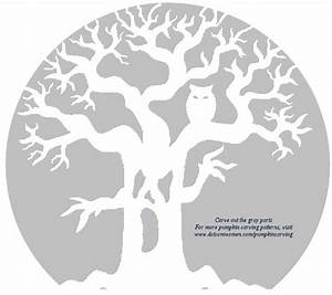 Ghost, Tree, With, Owl, -, Free, Pumpkin, Carving, Stencil
