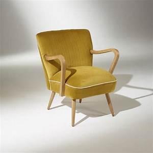 fauteuil vintage sixty jaune moutarde achat vente With tapis jaune avec canapé bleu canard 2 places
