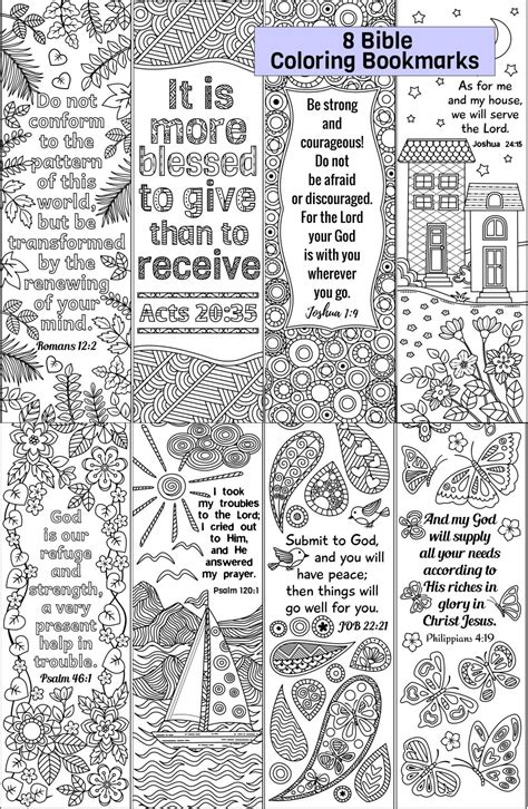 bible coloring bookmarks set  ricldp artworks