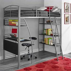 Loft Bunk Bed Over Desk and Bookcase Twin in Gray - 4016427