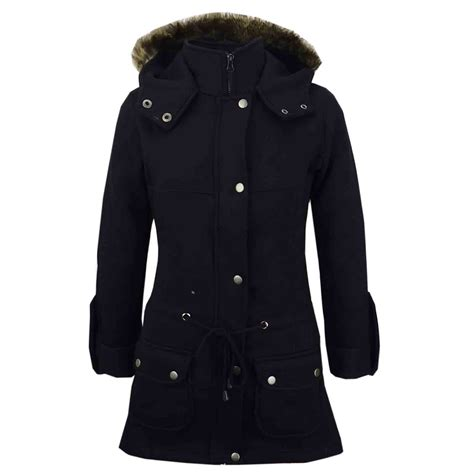 girls coat kids fleece parka jacket long faux fur hooded summer coats age   ebay