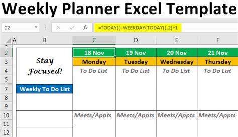 excel weekly planner template step  step calendar examples