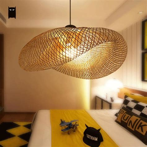 suspension luminaire chambre b bamboo wicker rattan wave shade pendant light fixture