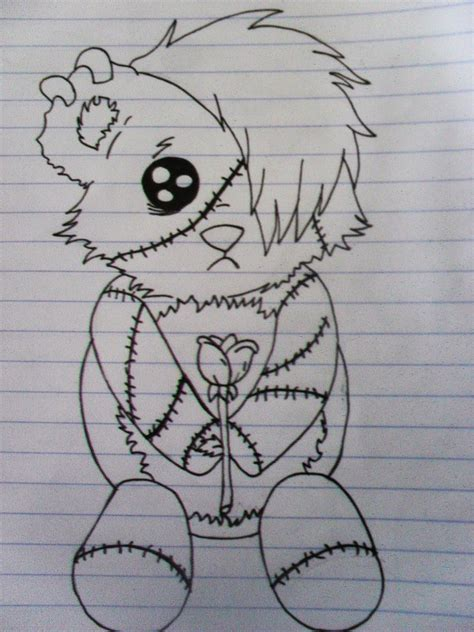 drawn teddy bear emo pencil   color drawn teddy