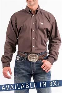 Cinch Jeans Men 39 S 3xl Solid Brown Button Down Western Shirt