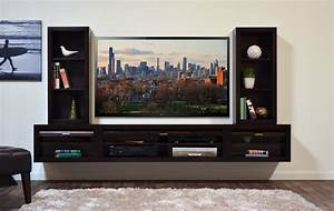 Interior Design. Simple TV Stand For Wall Mounted TV Ideas ...