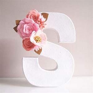 floral letter in shades of pinks gold leaves by With letters decoration baby