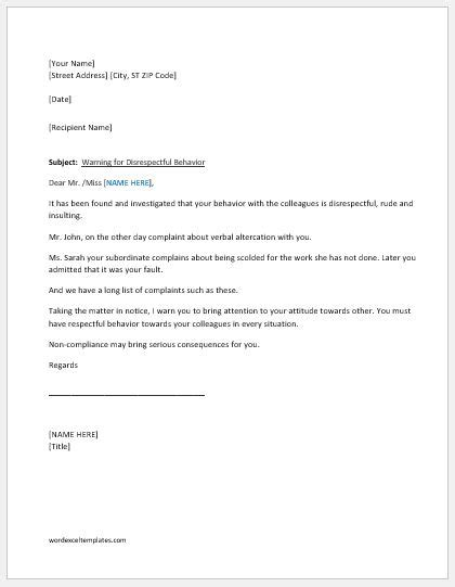 Warning Letter for Unacceptable Behavior at Work | Word