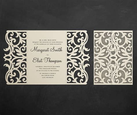Gate fold Wedding Invitation Card Template 5x7 Quinceanera
