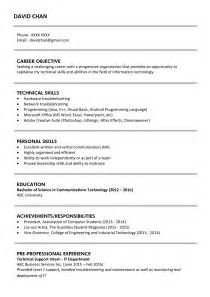 resume format for ojt information technology students should know sle resume for fresh graduates it professional jobsdb hong kong