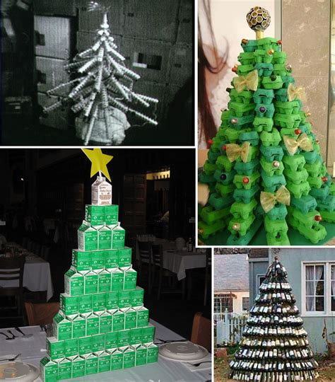 4 christmas trees made from packaging beach