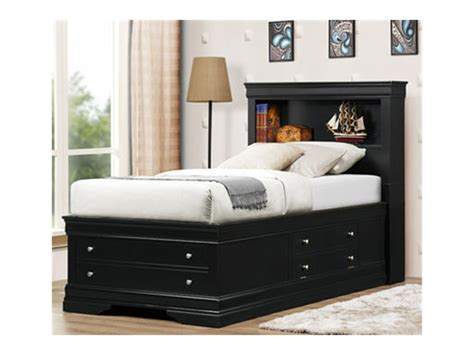 full size platform bed with storage and bookcase headboard furniture black upholstered leather full size panel