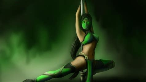 jade mask mortal kombat eyes girl art pole ultra