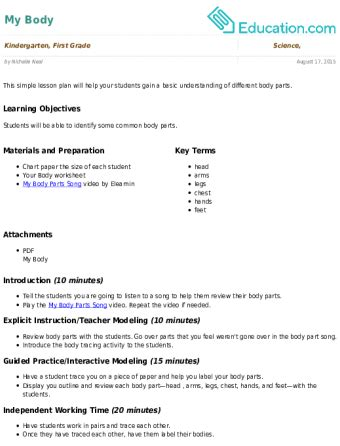 my lesson plan lesson plan education 910 | my body 340x446