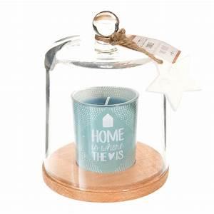 Bougie Sous Cloche : bougie sous cloche en verre bleue h 15 cm toile polaire maisons du monde ~ Teatrodelosmanantiales.com Idées de Décoration