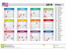 Vector Public Holidays For The USA Calendar 2019 Colorful