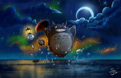 Totoro Neighbor Night Anime Rain Umbrella Road