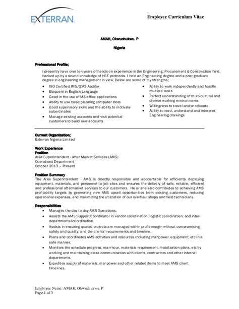 Curriculum Vitae Format For Staff by Okwy Amah Exterran Cv Format Revised By April 2015
