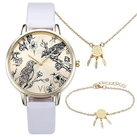 jsdde vintage blumen vogel armbanduhr basel stil weiss