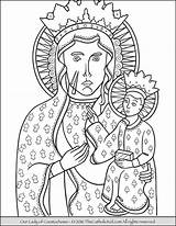 Coloring Lady Czestochowa Mary Catholic Thecatholickid Children Guadalupe Lourdes Colour Sheets Sorrowful Kid Dog sketch template