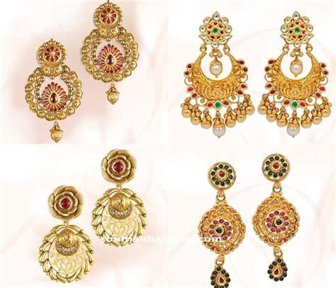 gold earrings design from grt ethnic bridal jewellery