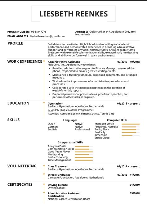 High School Resume by Resume Exles By Real High School Resume