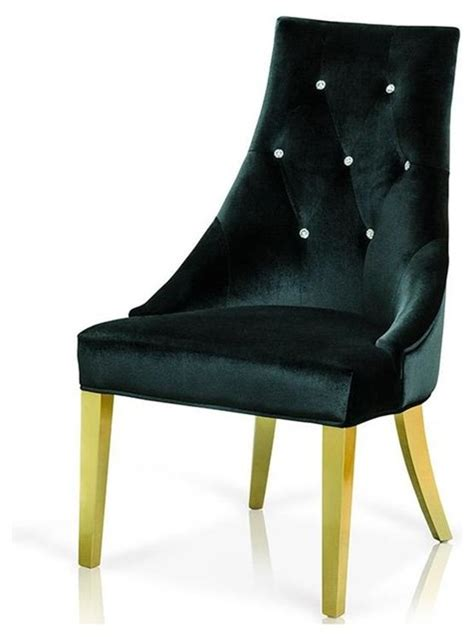 vig a x black velour with legs dining chair in