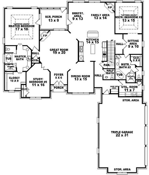 dual master suite home plans 654269 4 bedroom 3 5 bath traditional house plan with