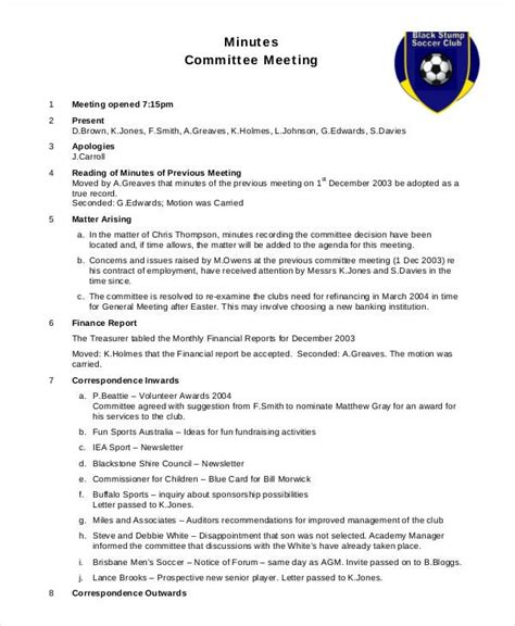 meeting minutes template  word  documents